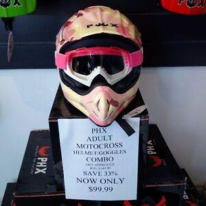 NEW!! PHX Vortex Adult MX Helmet/Goggles Combo ONLY $99.99
