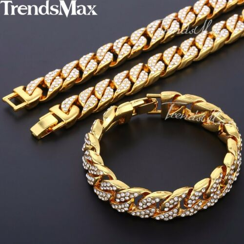 Details about  /14mm Miami Curb Cuban Yellow Gold Filled Necklace Bracelet Set Men Chain Jewelry