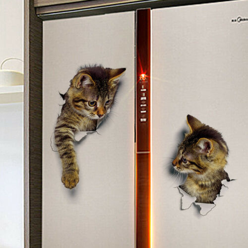 Funny Cute Cat Wall Stickers 3D Wall Stickers Bathroom Toilet Stickers CA