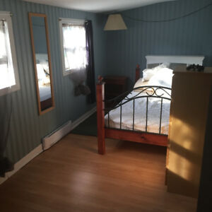 North end, short term stay, long blue bedroom
