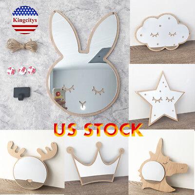 - Lovely Wood Acrylic Mirror Sticker Cute Cartoon Kids Room Wall Home Decoration