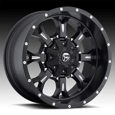 "18"" +20 D517 Fuel Krank Black Wheels Rims 8x6.5 8 Lug Chevy RAM GMC Dodge"