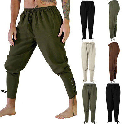 Men Retro Medieval Renaissance Loose Outdoor Sport Lace Up Trousers Viking Pants
