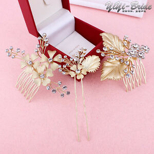 Wedding-Bridal-Prom-Party-Crystal-Diamante-Gold-Flower-Leaf-Hair-Pins-Clips-Comb