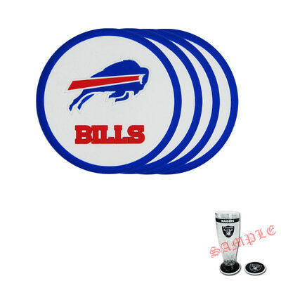 Buffalo Bills Coaster - Brand New 4pcs Set NFL Buffalo Bills Heavy Duty Rubber Vinyl Coasters
