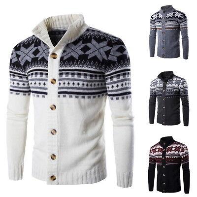 - Fall Knitted Cardigan Sweaters Men Zipper Solid printing Sweater Knitwear Coats