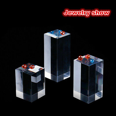 Clear Square Acrylic Earring gem display stand Rack Jewelry Show Case Holder ()