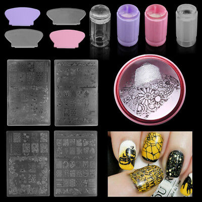 Nail Art Stamping Stampers DIY Kits Image Plate Scrapers Manicure Best