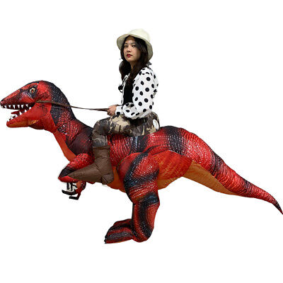 Xmas T-Rex Costume Suit Adult Inflatable Dinosaur party Ride Velociraptor Outfit
