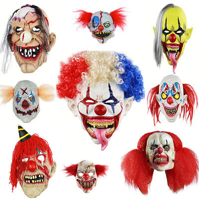 Scary Clown Latex Mask Cosplay Full Face Horror Adult Mask for Halloween Prop ^^ - Scary Clown Props For Halloween