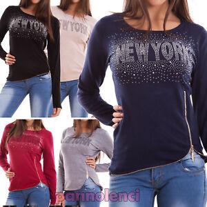 Maglione-donna-maglia-pullover-sottogiacca-strass-scritta-zip-elastic-nuova-G153