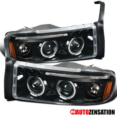 For 1994-2001 Dodge Ram 1500 2500 3500 Slick Black LED Halo Projector Headlights