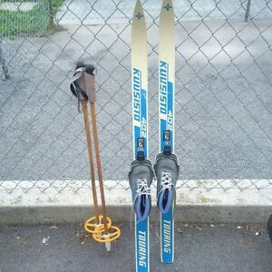Chìldren's cross country skis, boots, and poles