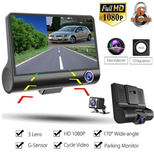 1080P 4″ Dual Lens HD Car DVR Rearview Video Dash Cam Recorder Camera G-Sensor Consumer Electronics
