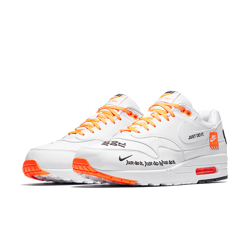 5634a631 {AO1021-100} Mens Nike Air Max 1 SE White Orange Just Do It Collection |  PolyBull.com