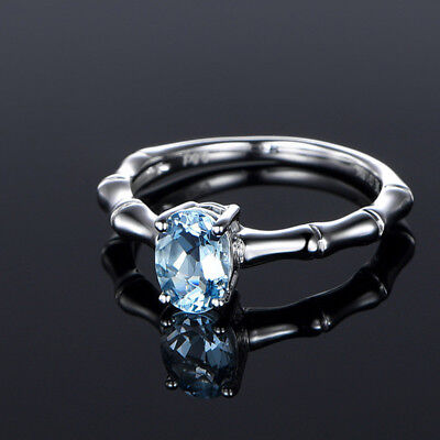 Oval Cut Aquamarine Ladies Bamboo Joint Rings 925 Silver Filled Knuckle (Silver Joint)