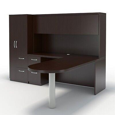 Mayline Aberdeen Executive L-shaped Desk Package Mocha