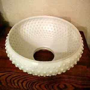 Hobnail Fenton Milk Glass Hanging Hurricane Light Lampshade Kitchener / Waterloo Kitchener Area image 4