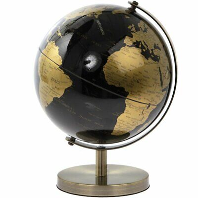 18cm Black Gold World Globe Vintage Rotating Atlas Office Desk Ornament Home