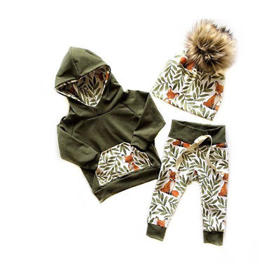 US 2Pcs Newborn Kids Baby Girl Boy Fox Hooded Tops Pants Autumn Outfits - Kids Outfits