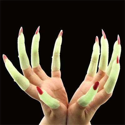 X10 Glow in the Dark Zombie Witch Fake Finger Nails Set Halloween Party Prop ♫ - Fake Halloween Fingernails