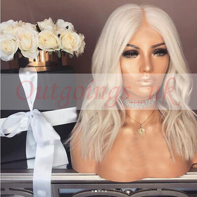 100% White Blonde Gluesless Full Lace Front Wig Europeam Bob Human Hair Wigs