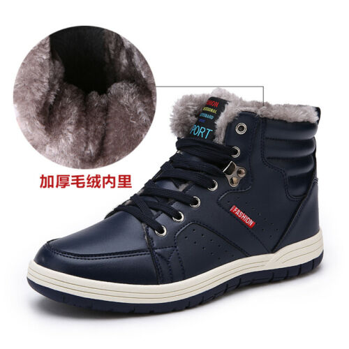 Mens Ankle Boots Shoes Outdoor Walking Fur Inside Warm Snow Winter Sports Flat L