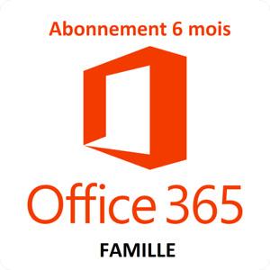 6 mois Abonnement - Office 365 Famille 35 $$  !!! Code digital