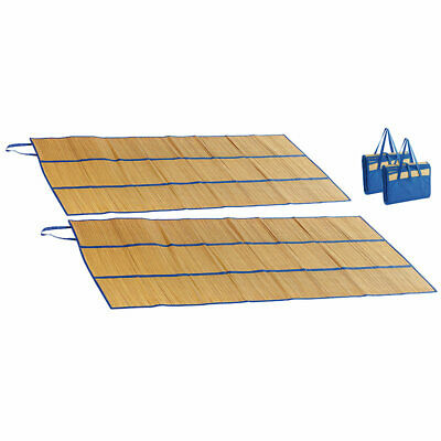 PEARL 2er-Set faltbare Bast-Strandmatten mit Tragegriffen, 180 x 90