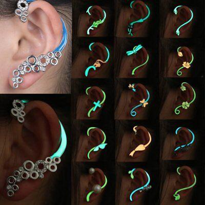Glow In The Dark Cross (Charm Glow In The Dark Crystal Cross Cat Flower Ear Stud Earrings Women)