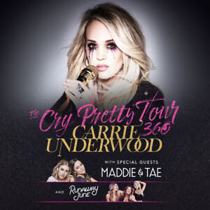 CARRIE UNDERWOOD Cry Pretty Tour Saturday May 25th - ROW 2 SEATS