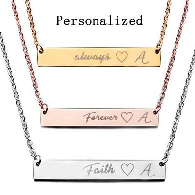 Stainless Steel Personalized Name Bar Necklace Custom Engraved Jewelry Gifts US - Custom Necklace Charms