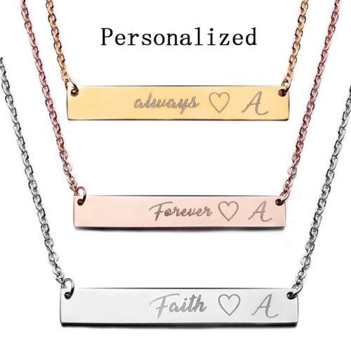 Jewellery - Stainless Steel Personalized Name Bar Necklace Custom Engraved Jewelry Gifts UK