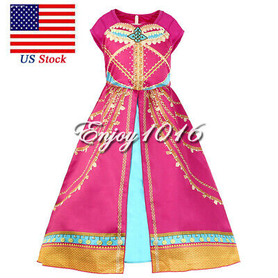 Dress Up Clothes For Toddler Girls (Girls Rose Princess Costume For Jasmine Kids Toddler Party Christmas Dress)