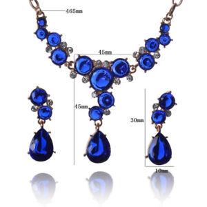 fabuleux collier, boucles d'orreilles, saphir plaqué or, mariage