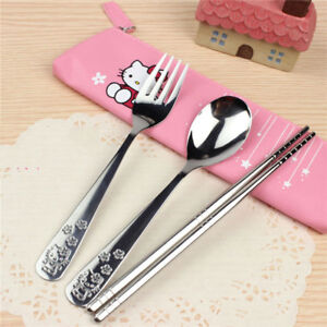 HELLO KITTY UTENSILS SET INCLUDE FORK, SPOON, CHOPSTICK AND CASE,  VERY CUTE !