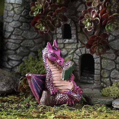 Pink Reading Dragon GO 17561 Miniature Fairy Garden Dollhouse