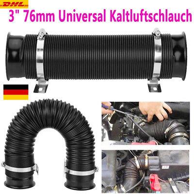 "3"" 76mm Universal Flexibel Ansaugrohr Kaltluftschlauch Sportluftfilter Kalt GSD"