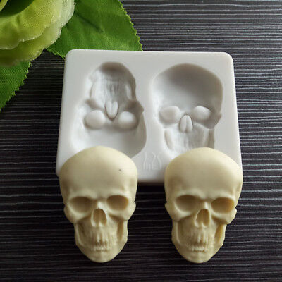 Skull Head Silicone Fondant Cake Mould Chocolate Mold Halloween Party Decor US