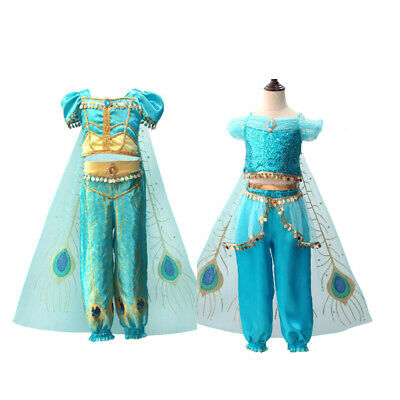 2019 Kids Aladdin Costume Princess Jasmine Cosplay Girls Halloween Fancy Dress - Halloween Costumes Jasmine