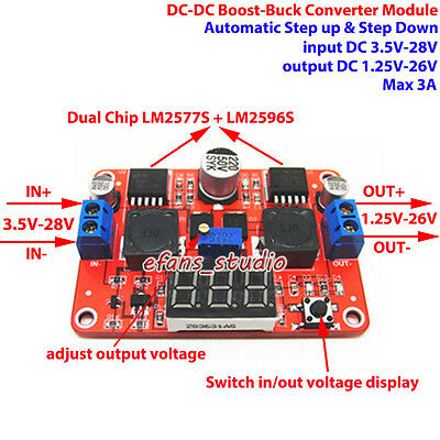 Led Dc-dc Adjustable Boost Buck Step Up Down Converter 3.3v 5v 9v 12v 19v 24v 3a