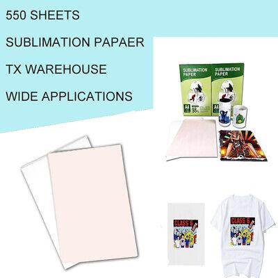 Sublimation Paper Heat Transfer Dye Inkjet Iron On Mug T-shirt 550 Sheets A4 Us