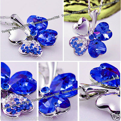 Unusual Royal Blue Crystals Heart Necklace Xmas Gifts For Her Women Wife Love UK ()