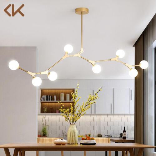 Modern Glass Globe Chandelier Metal Branch 8 Light Pendant L