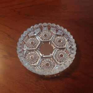Vintage Italian Diamond Cut Hobstar Crystal Ashtray
