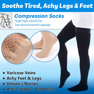 Closed Toe Compression Stocking (Closed Toe Compression Socks Thigh High Anti Embolism Varicose Stockings Flight )