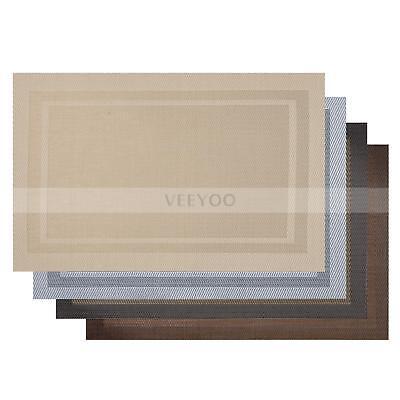Set of 4  PVC Kitchen Table Mat Placemat Double Border Vinyl Washable US Stock (Table Settings)