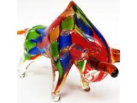 Glas Stier Bulle im Italien Murano Stil 24cm Glasfigur Skulptur glass bull