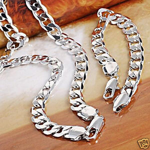 Heavy Men's 18k White gold filled necklace/Bracelet Sets 98g Curb chain free S/H