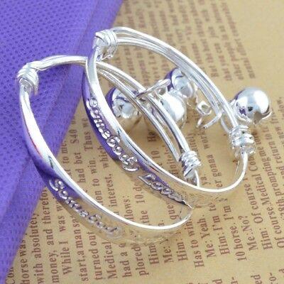 2Pc Children Baby Bracelet 925 Sterling Silver Adjustable Je